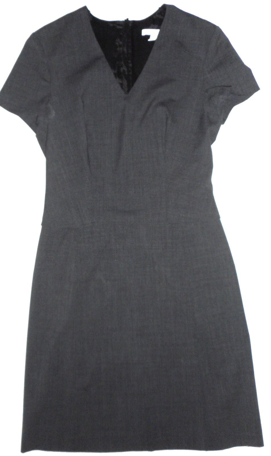 HUGO BOSS Women cap Sleeves Career Dress Grey Virgin Wool Lined flaps, size 4
