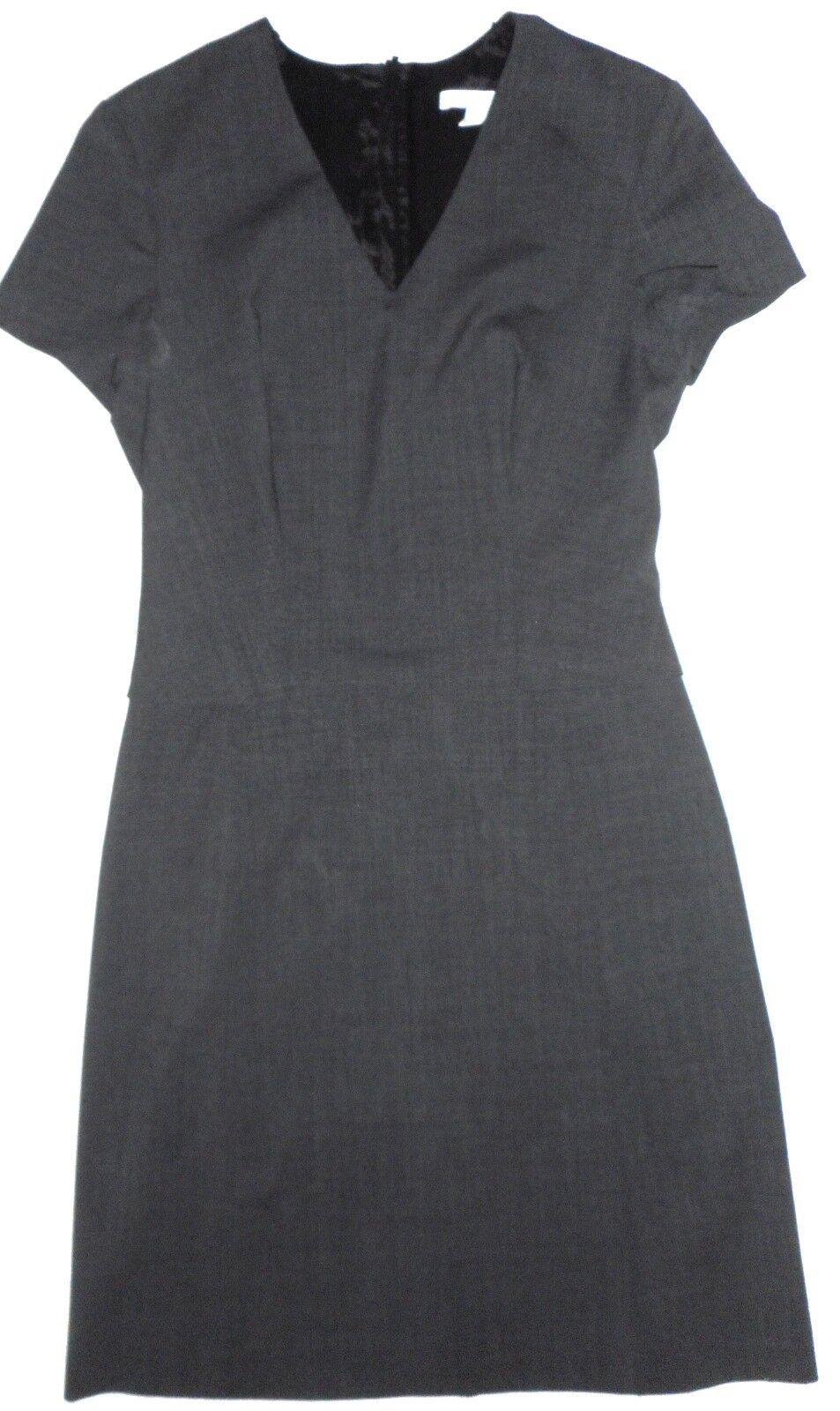 HUGO BOSS Women cap Sleeves Career Dress Grey Virgin Wool Lined flaps, size 4