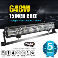 8D+ 15Inch 648W CREE Led Spot Flood Combo Work Quad Rows Light Bar VS 7D+ 3-ROWs