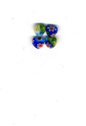 Tiny 6mm Millefiori Lampwork Hearts beads