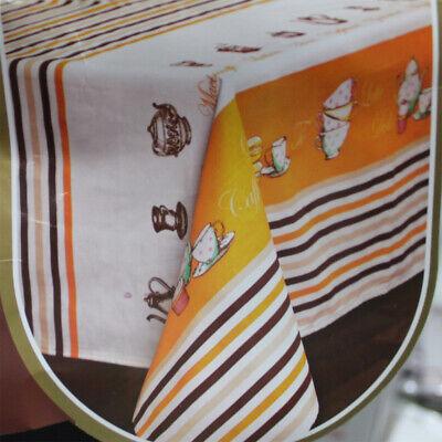 Home & Garden Bedding Contemplative Tovaglia Tavola 18 Posti Tazze The Te' Fondo Beige Preziosa Kiss Tessuto Twill