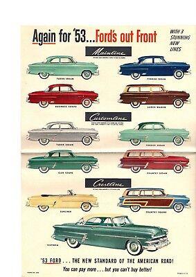 1955 Ford Plakat / Broschüre: Crestline, Customline, Mainline, Squire Waggon,