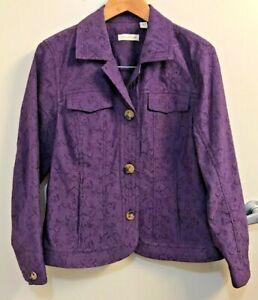 Coldwater-Creek-Jacket-Sz-14-Purple-Coat-Floral-Pattern-Pockets-Button-Up-top