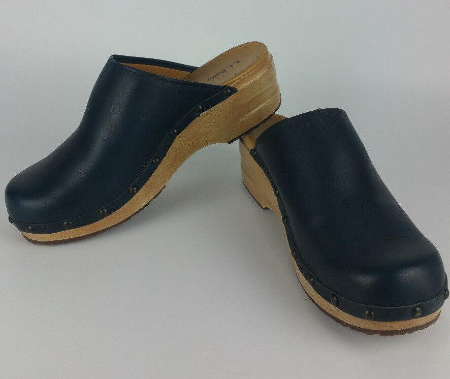 si affrettò a vedere LL LL LL Bean Navy blu Wood Clogs donna 11 M Slipper Slip On scarpe Leather Mule 6175  offerta speciale