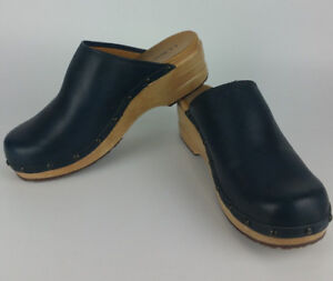 LL-Bean-Navy-Blue-Wood-Clogs-Womens-11-M-Slipper-Slip-On-Shoes-Leather-Mule-6175