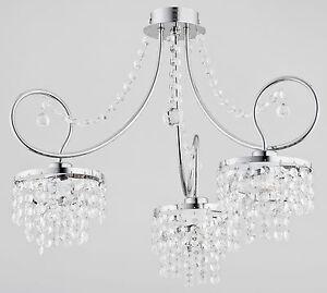 Crystals 3 arm Luxury Chandelier Modern Apartment Light Hallway Dining Diana New