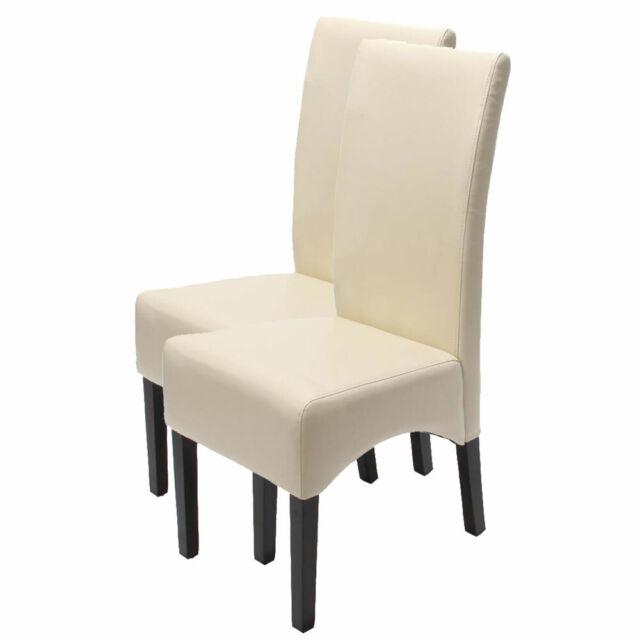 2x Stuhl Latina, Esszimmerstuhl Lehnstuhl, Leder ~ creme