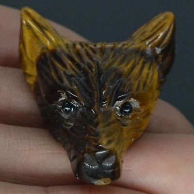 "1.4/"" Yellow Tiger Eye Wolf Head Pendant Necklace Fashion Jewelry Stone Caving"
