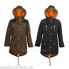 PKR-255 Ladies Women PU Winter Fur Hood Pocket Long Parka Coat Jacket Size XL-14