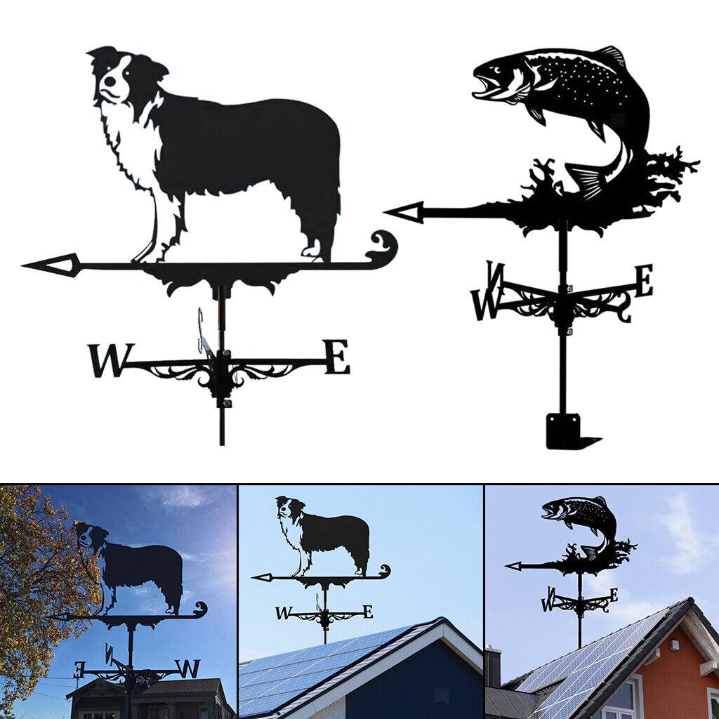 Black Weathervane Weather Vane Outdoor Yard Farm Barn Scene Stake 50cm Tall