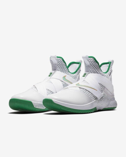competitive price 18d84 cd846 Nike Mens Lebron Soldier XII 12 SVSM Home White Green Gold Ao2609 100 Size  9.5