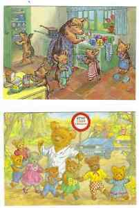 2-MOLLY-BRETT-COLLECTABLE-POSTCARDS-034-Lollipop-Bear-034-amp-034-Washing-Up-034