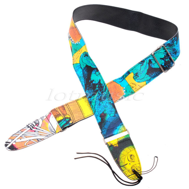 Adjustable PU Guitar Strap For Acoustic Electric Guitar Soft Colorful