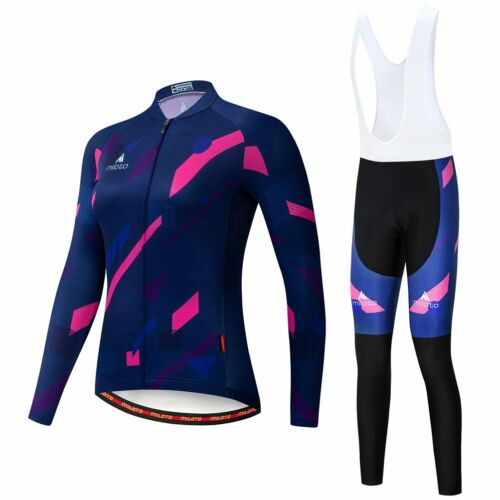 Pants Tight Padded Miloto Women/'s Cycling Long Kit Long Sleeve Jersey and Bib