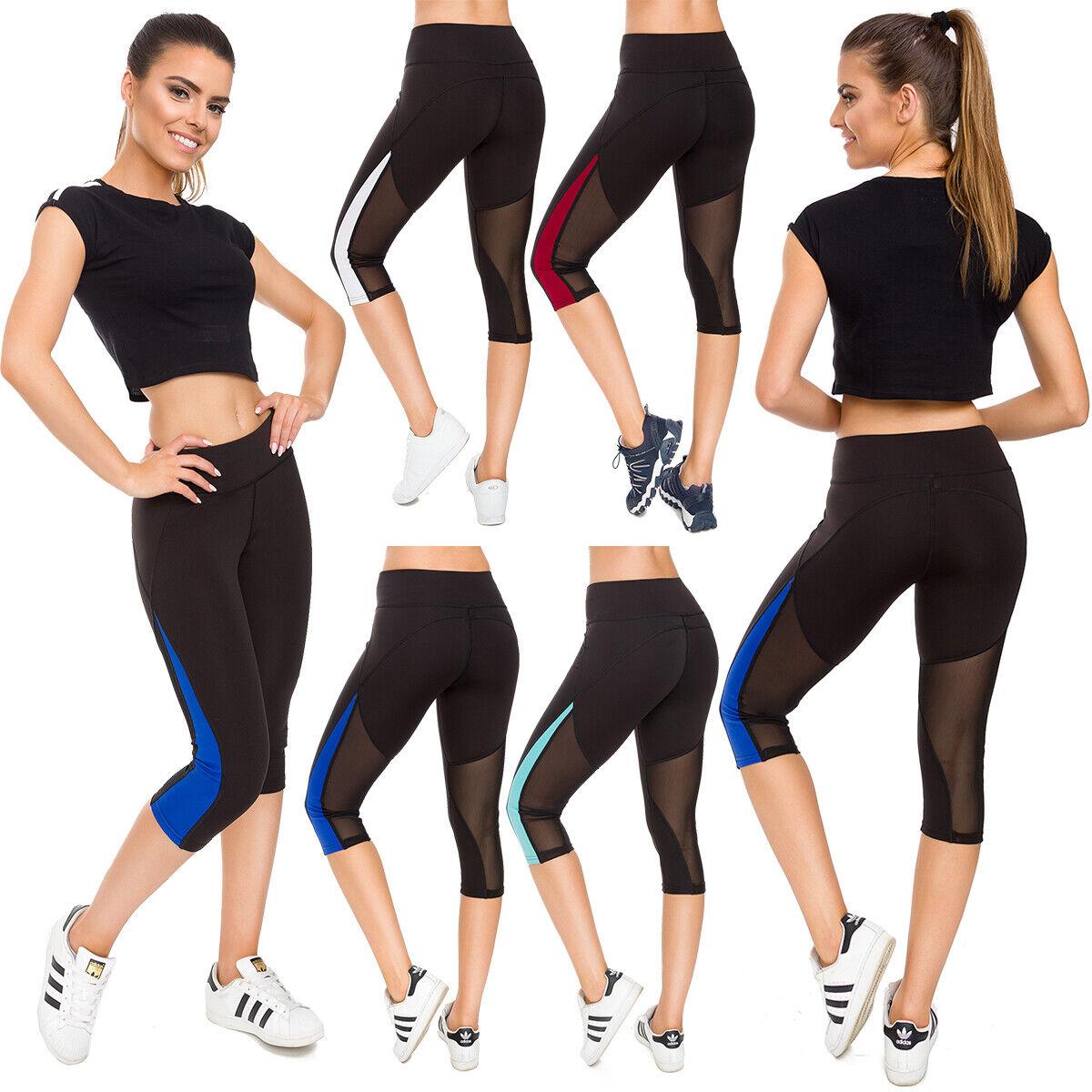 Womens Capri 3/4 Leggings Neon Insert 4Way Stretch Formula Running Gym S-XL G231