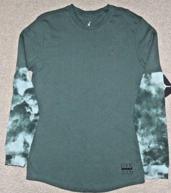 640e578a185 Nike L Men's Jordan CLOUDED NIGHTMARES Long Sleeve Shirt NEW 801573 327 Dk  Green