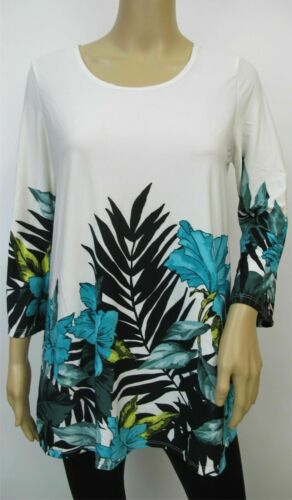 New Kate /& Mallory Knit 3//4 Sleeve Turquoise Floral Border Print Tops Size S~L