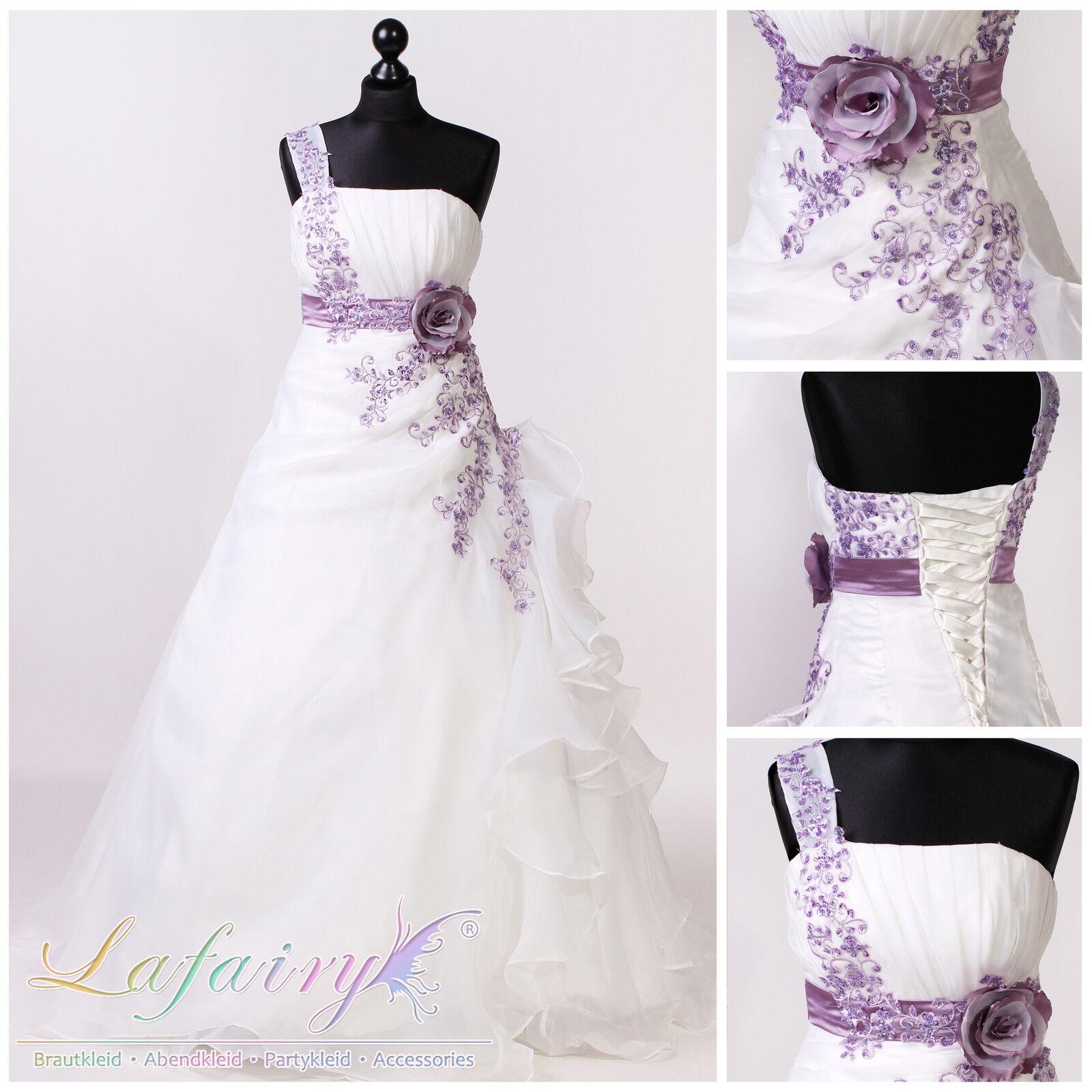 Brautkleider H221 Hochzeitskleider weiß ivory lila Blumen 1-Träger Lafairy