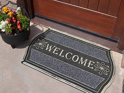 Silver Non Shedding Welcome Large Strong Entrance Front  Outdoor Mat Rubber Mats