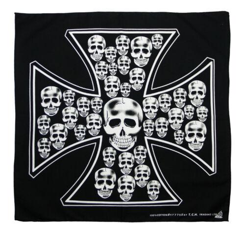 K104-tete de mort croix de fer port du foulard bandana foulard chiffon biker chopper MC