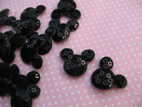 10 x BLACK SEQUIN MICKEY MINNIE MOUSE HEAD APPLIQUE SIZE 7//8s HEADBAND HAIR BOWS