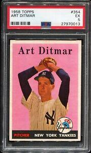 1958-Topps-Baseball-354-ART-DITMAR-New-York-Yankees-PSA-5-EX