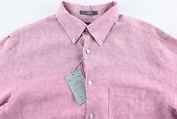 Men's Daniel Cremieux Berry Pink Linen Shirt L Large $95+