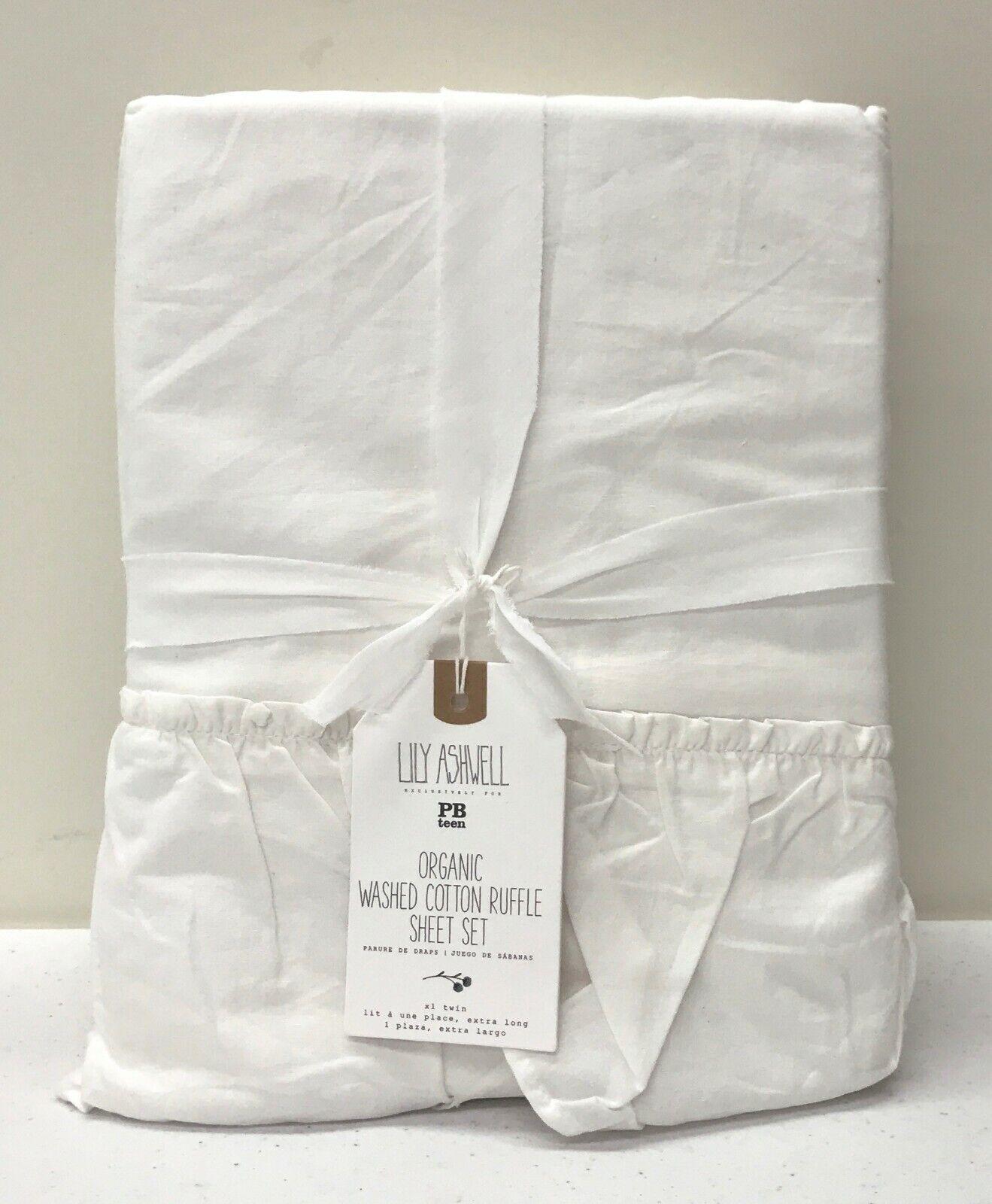 Nouveau POTTERY BARN Teen Lily Ashwell Lavé Coton Volants Twin XL Feuille Set  ivoire
