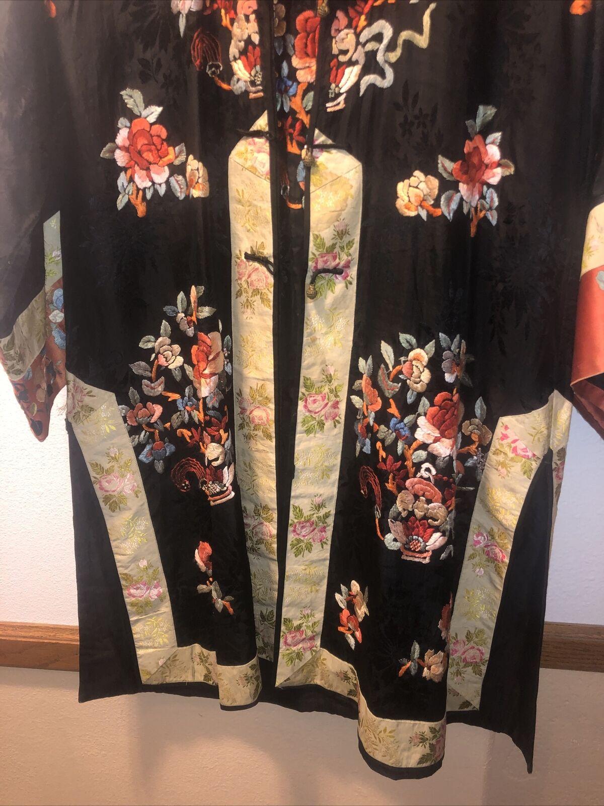 50s black silk embroidered Chinese kimono