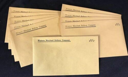 Railroad Envelopes Genuine Western Maryland Railway Company  3.5 x 6 Lot of 10