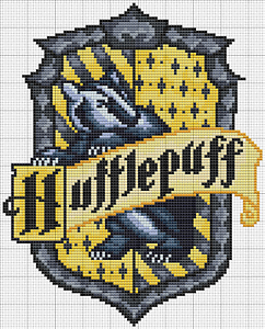 Hogwarts House Crest HUFFLEPUFF Cross Stitch Chart 14ct = 18x22cm