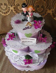 Geldgeschenk Hochzeitsgeschenk Hochzeit Toilettenpapiertorte Lila