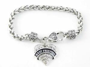 Best-Friends-Clear-Crystal-Heart-Silver-Lobster-Claw-Bracelet-Jewelry-Gift