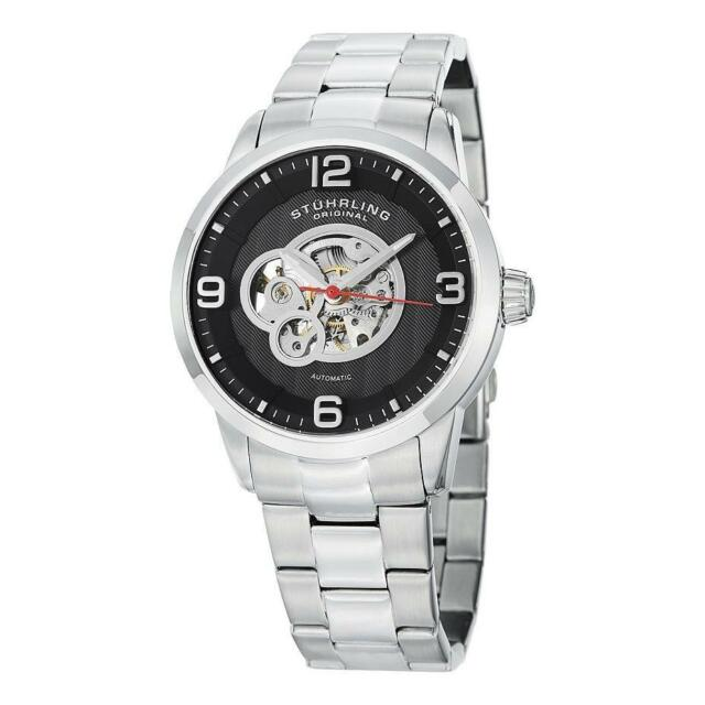Stuhrling 648B 02 Automatic Skeleton Silver Stainless Steel Bracelet Men's Watch