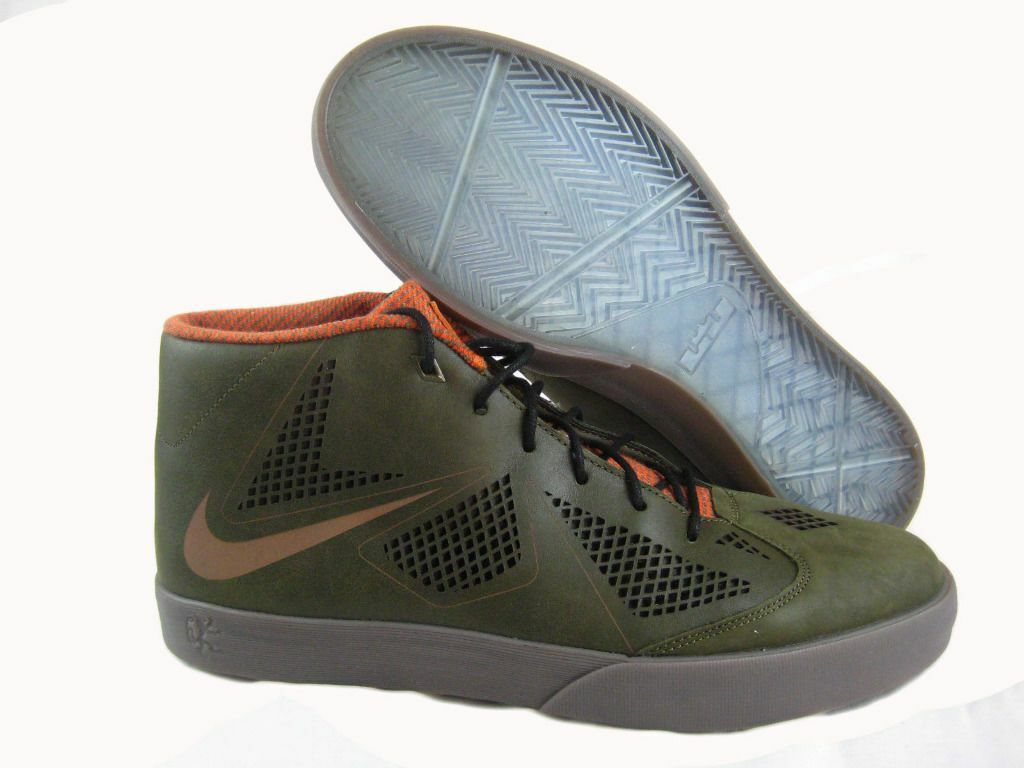 Nike Men's Lebron X NSW Lifestyle Shoes Dark Green,Dark Brown 604826-300**