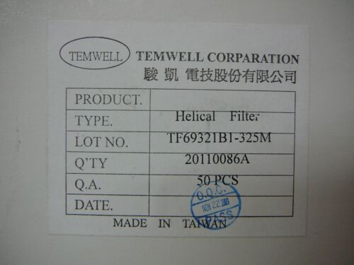 TEMWELL VHF UHF HELICAL FILTER 311MHz ~ 355MHz **NEW** Qty.2