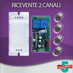 RICEVENTE 2 CH CANALI  220 V VOLT + 4 TELECOMANDI 433 MHZ CANCELLI SERRANDE LUCI