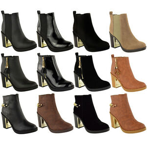 WOMENS LADIES GOLD MID HIGH HEEL CHELSEA LOW ANKLE BOOTS CHUNKY ...