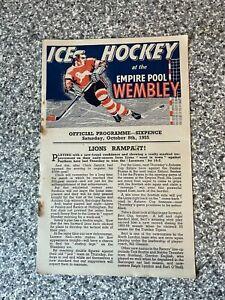 Wembley Empire Pool - Wembley Lions - Ice Hockey Programme 08/10/1955