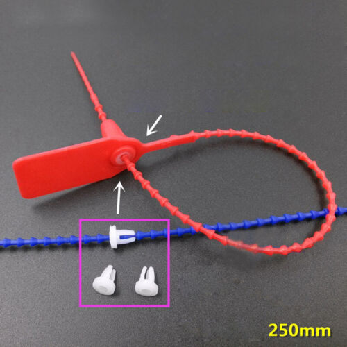 Pack Of 100 PP Plastic Security Tags Numbered Pull Ties Anti-Tamper Seals 25cm