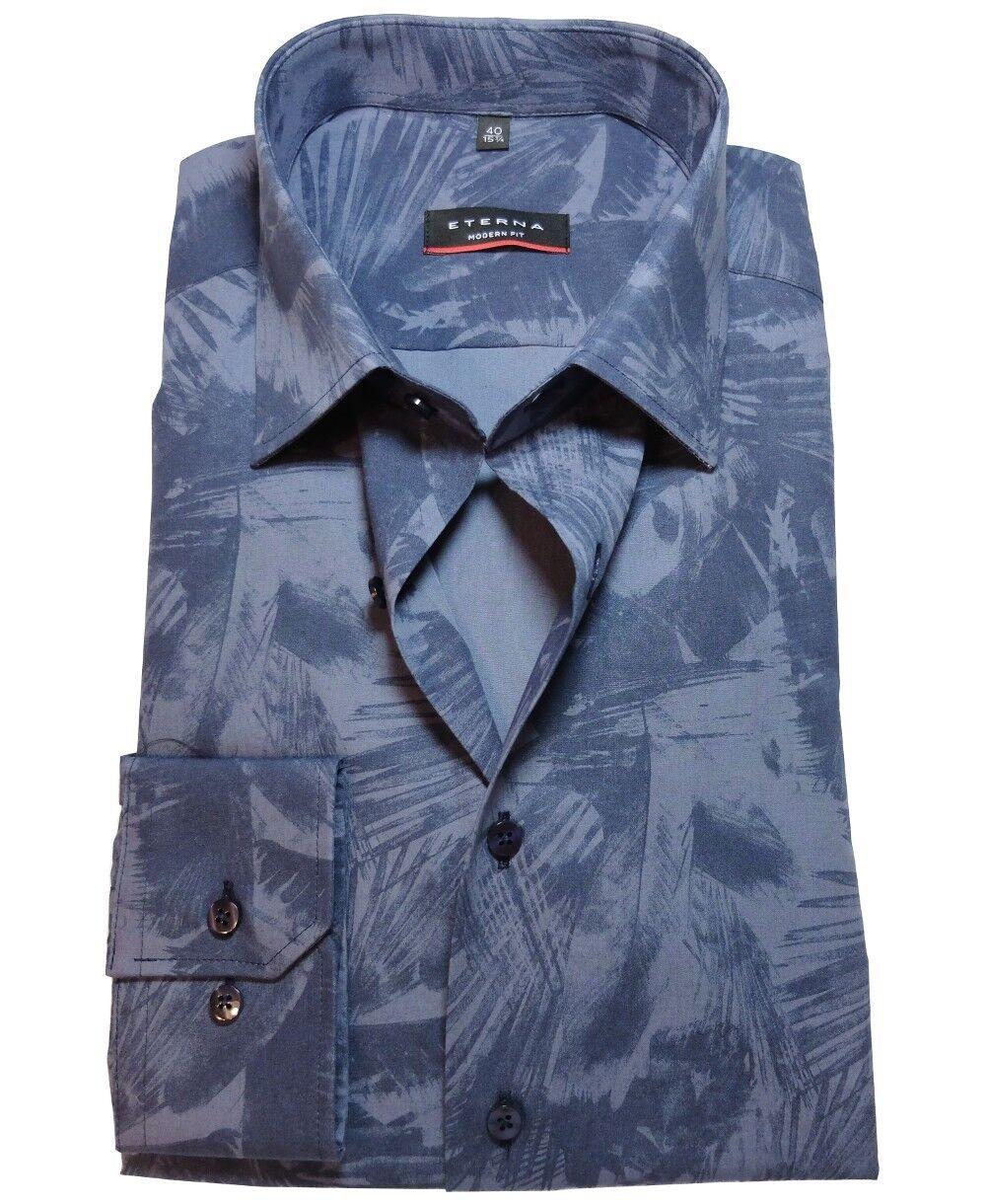 eterna Modern Fit Langarmhemd blau Floraldessin Gr. 38 bis 45