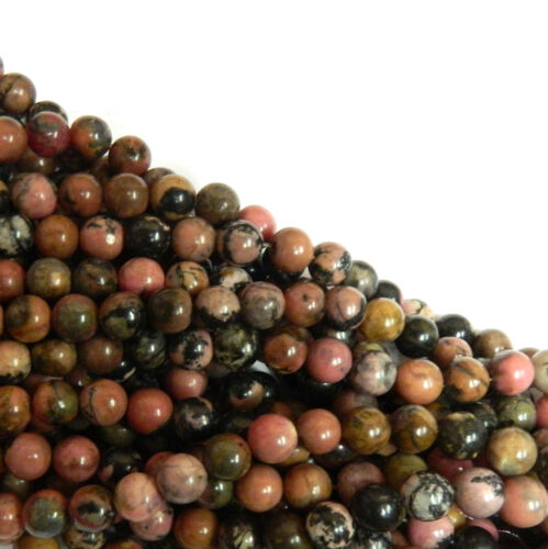 Rhodonite 6mm Natural Gemstone Round Beads 15 Inch Loose