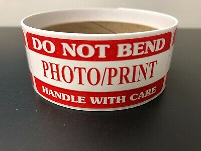500 DO NOT BEND PHOTO//PRINT HANDLE WITH CARE RED LABELS STICKERS NEW