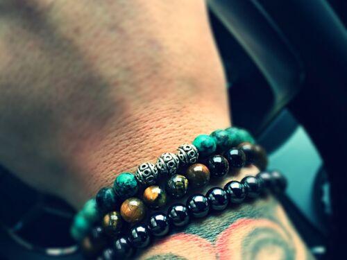 Tiger ojo verde brazalete pulsera perlas pulsera plata beads 8mm