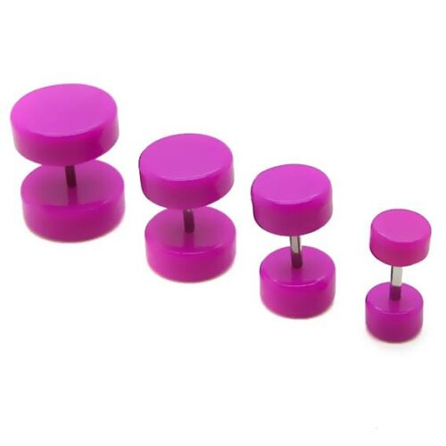 2x Fakeplugs 6 8 10 12 Trendy Lila Fake Plug Tunnel Piercing Ohrstecker Ohrring