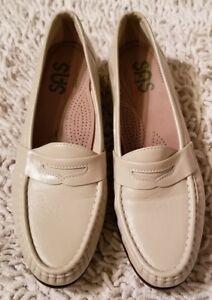 01680e762 SAS Womens Cream Colored Leather Penny Loafers Shoes Size 9 S Tripad ...