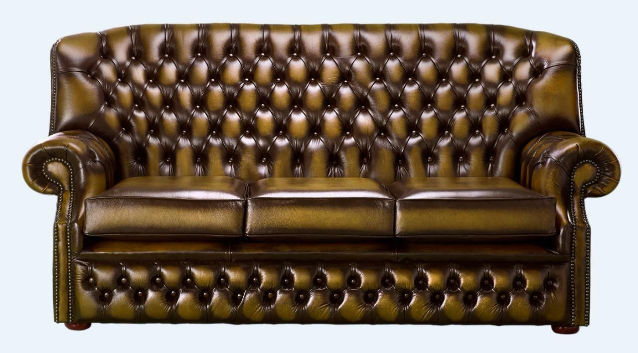 Details About Chesterfield Monks 3 Seater High Back Sofa Antique Gold Leather