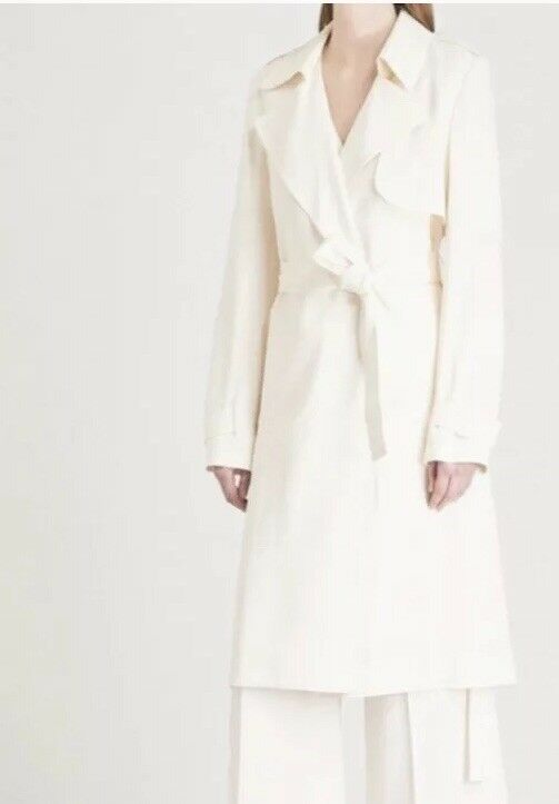 Theory Oaklane Trench Coat In Optic White. Size M & L. NWT. Retail-  600