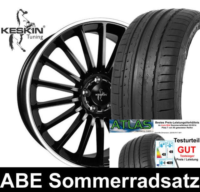 4x ABE Sommerräder KESKIN 225/45 Sommerreifen TEST GUT für Mondeo Turnier BA7