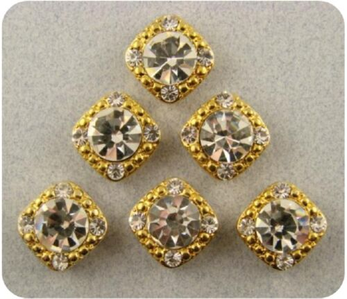 "2 Hole Beads /""Stardust Crystal GALA/"" 8mm Clear Swarovski Elements ~ GOLD ~ QTY 6"